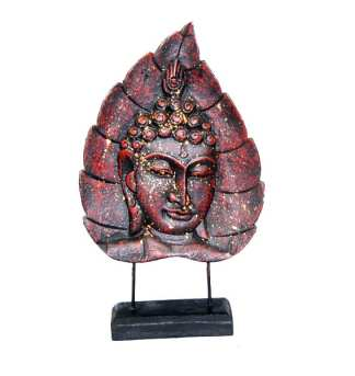 Red Buddha Face on Leaf 2