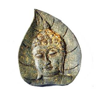 Green Buddha Face on Leaf