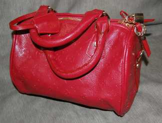 Cowhide Handbag Red-1