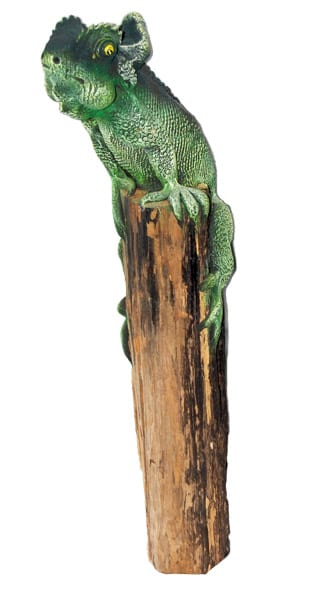 Green Chameleon Toy on a log