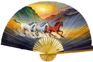 Hand Painted Fan With Horses