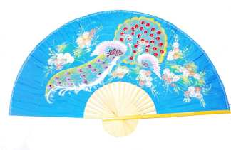 Hand Painted Fan With 2 Peacock