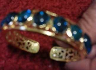 Dipped Gold Blue Stone Bang