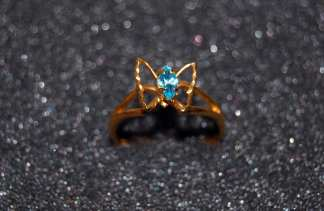 Light Blue Butterfly Ring
