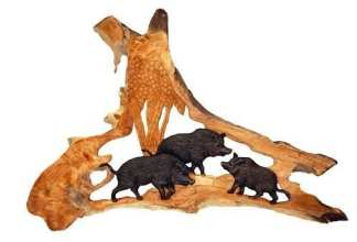 Wild Boar Carving Wall Mount