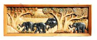 Hand Carved Elephant Scene-6