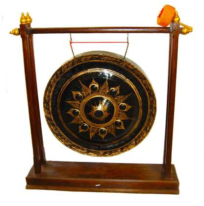 Hand crafted for amazing sound. The bronze is hand hammered in the same fashion as they have been for centuries. Many old villages, temples and home still use these gongs to signify events; each gong comes with its own padded beater hammer. 36 in diameter Stand Not included