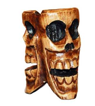 Wooden Three Headed Skull