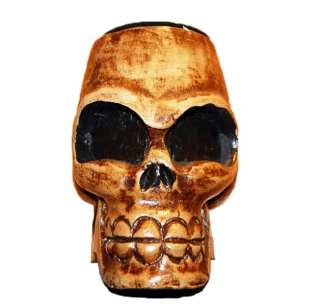 Wood Candle Skull Head