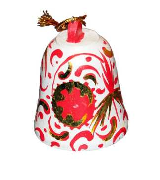 Red and White Ceramic Bell