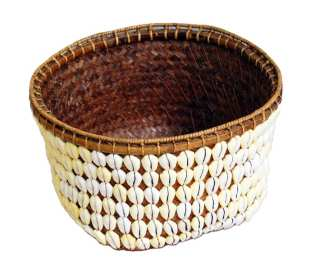 Brown Wicker & Seashell Basket