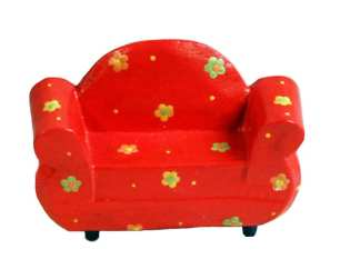 Wood Two Seater Chair Red-1