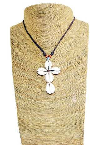 Sea Shell Crucifix Necklace
