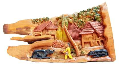 Carved Thai Village Scene 15