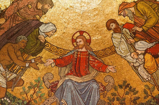 Image of mosaic of Jesus with marginalized peoples on his lift and right