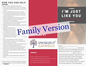 Image of front half of brochure for family autism version