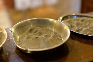 Small golden bowls for distributing ashes on Ash Wednesday