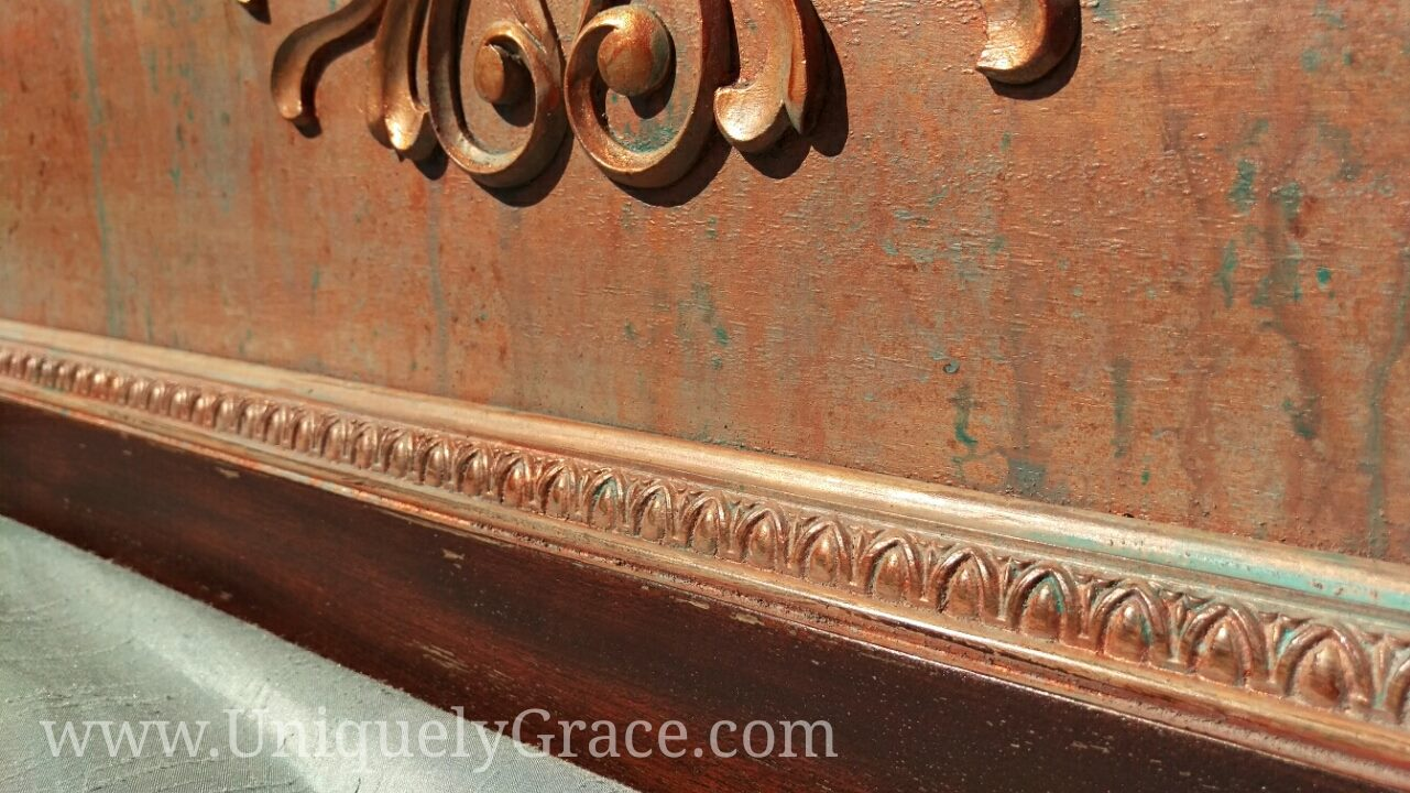 Rustic Vintage Mahogany Full Sized Headboard With Metal