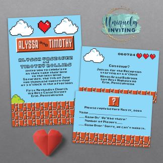 8-Bit Love Invitation Set