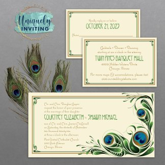 Art Deco Peacock Invitations