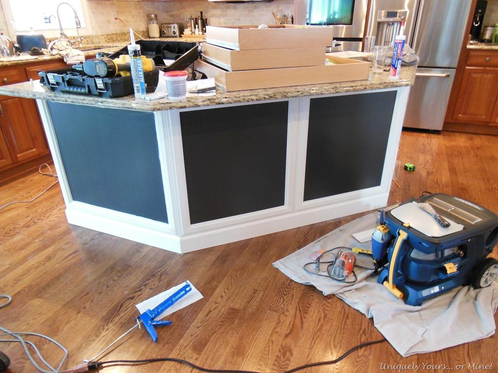 install kitchen island white backsplash tile adding molding to uniquely yours or mine