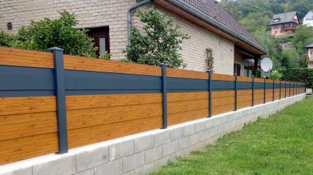 fence corrugated wood imitation and grey