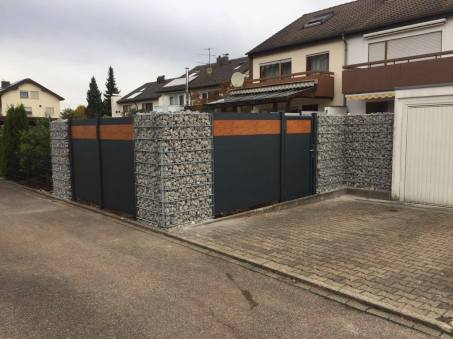 fence flat dark grey and wood imitation with door