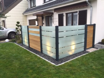 fence wood imitation and glass panels with door