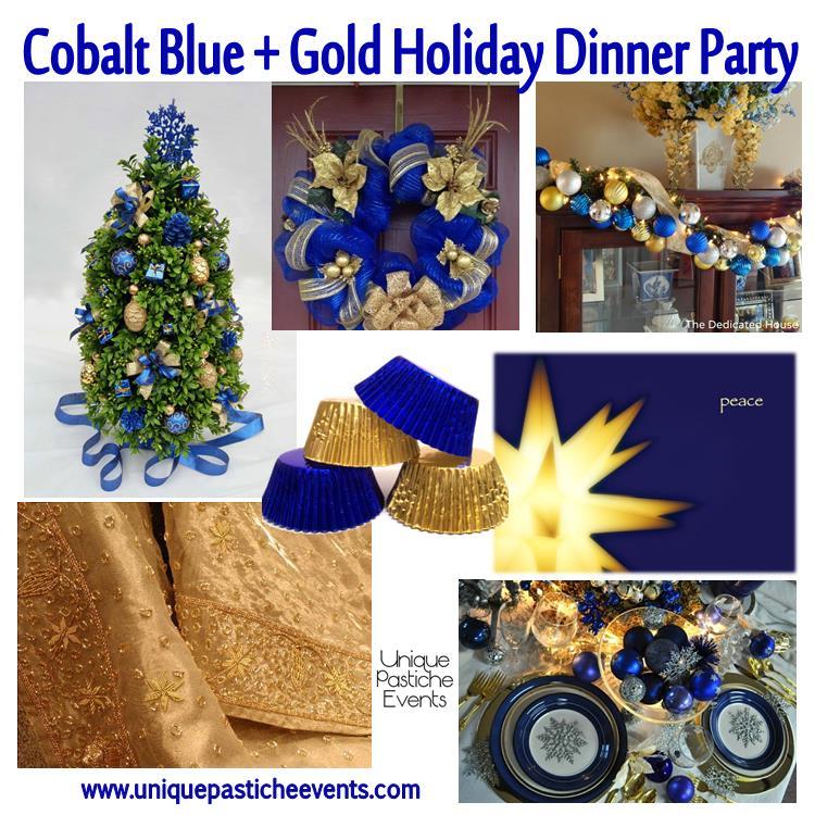 Cobalt Blue Gold Holiday Dinner Party Unique Pastiche Events