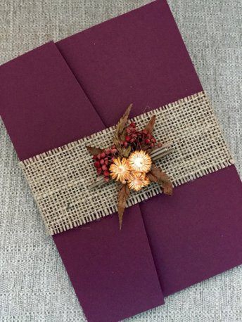 Burgundy and Burlap Wedding Invitation – created and sold by URinvtedus on Etsy