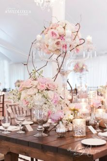 Crystal, Roses and Vines Tablescape – shared in a roundup post on ModWedding