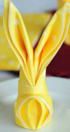 Yellow Bunny Napkin Folding Material – tutorial shared by Tortelina