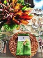 Brown Wicker Charger with Green Accents