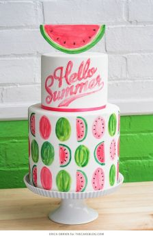 """""""Hello Summer"""" Watermelon Tiered Cake – shared by The Cake Blog"""