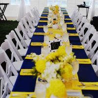 Sunshine Yellow and Navy Blue Tablecloth Estate Table ...
