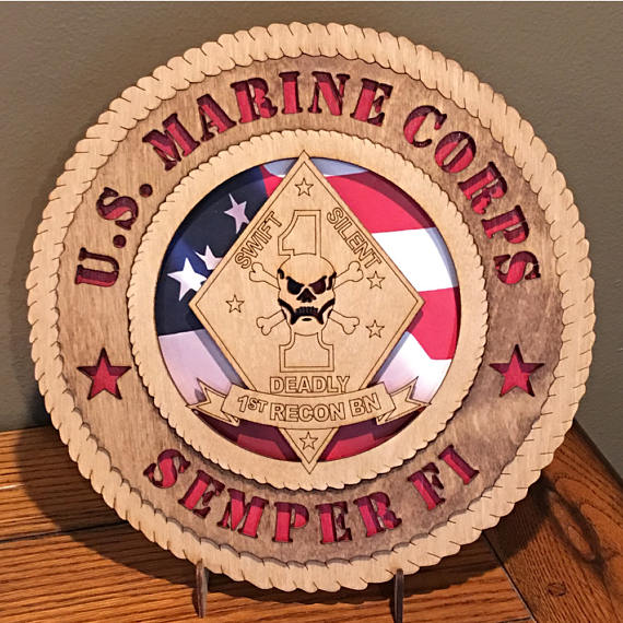 Us Marine 1st Recon 12 Inch Wall Tribute Can Be