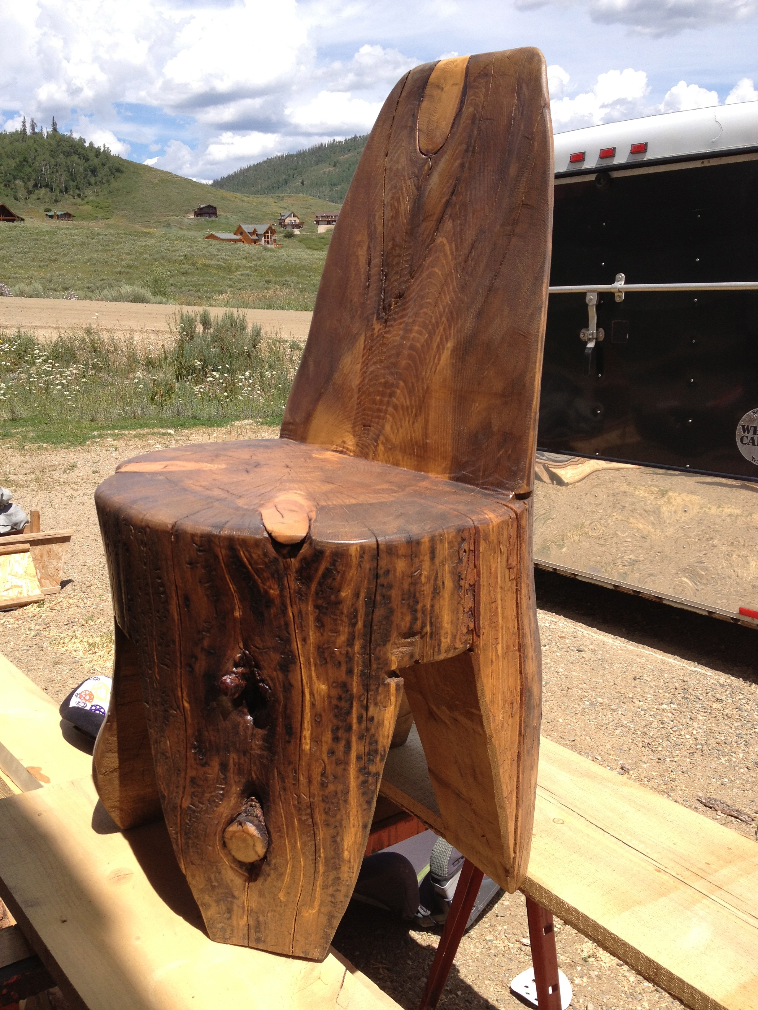 Hand crafted log chairs and benches Picnic Tables Unique