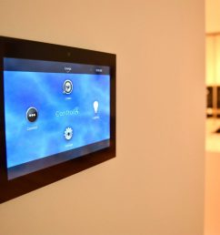 control4 lighting automation system touch panel on the wall [ 1110 x 725 Pixel ]