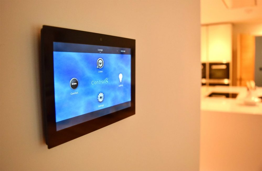 medium resolution of control4 lighting automation system touch panel on the wall
