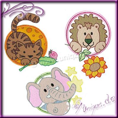 Elefant, Köwe und Katze als Applikationsmotive für viele schöne Kindersachen.
