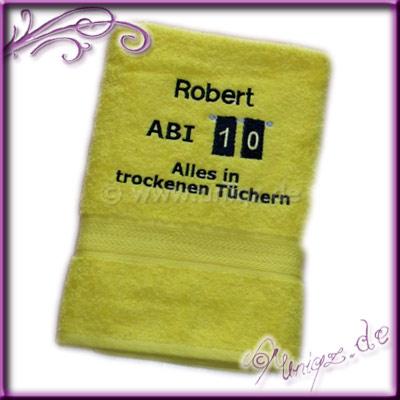 Abitur 2010: Geschenkidee, Duschtuch mit Namen und Abi-Spruch.