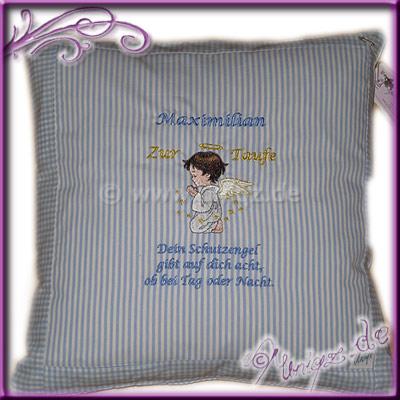 Patengeschenk, Kissen mit Schutzengel, Taufspruch und Namen