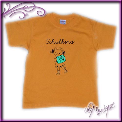 Schulkind - Kinder-Tshirt mit Stickerei für Mädchen und Jungen