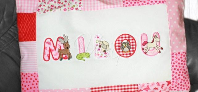 Namenskissen mit Tierbuchstaben