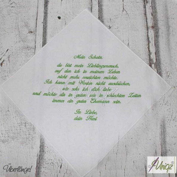 Hochzeits-Taschentuch, bestickt mit Ihrem Text