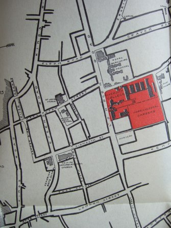 4. close up of hand drawn map of Reading showing London Road campus