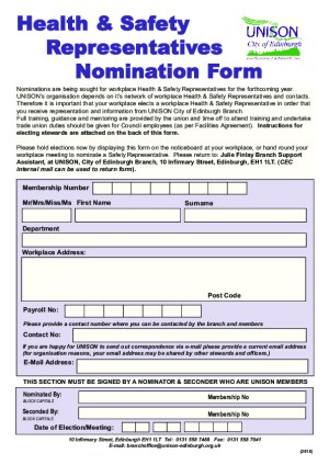 Health & Safety Nomination Form