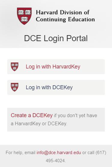 MyDCE login page