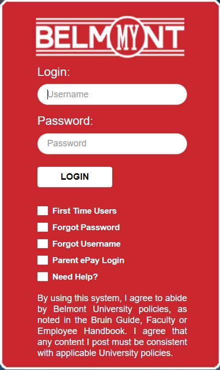 myBelmont login page