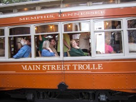 Right after the session, the trolley is full of bridge players.
